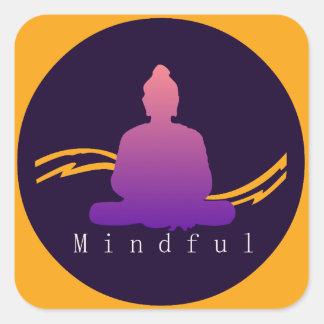 """""""Mindful"""" Beautiful Buddha. Square Sticker"""