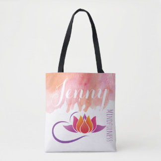 Mindfulness Gift Yoga Lotus Flower Add Name Tote