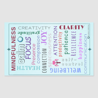 Mindfulness Word Jumble Rectangular Sticker
