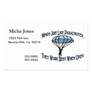 Minds Are Like Parachutes Double-Sided Standard Business Cards (Pack Of 100)