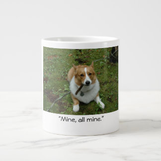 """Mine, all mine"" corgi photo mug"