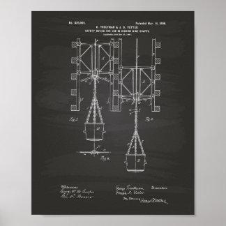 Mine Shaft Safety 1899 Patent Art Chalkboard Poster