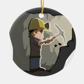 Miner Ceramic Ornament