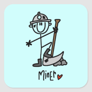 Miner Stick Figure Square Sticker