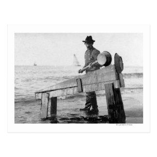Miner Washing Gold in Alaska Photograph Postcard