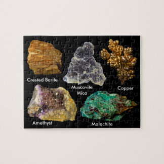 Minerals -Barite/Mica/Copper/Amethyst/Malachite Jigsaw Puzzle