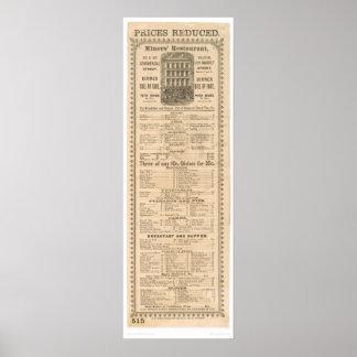 Miners' Restaurant Menu (1083A) Poster