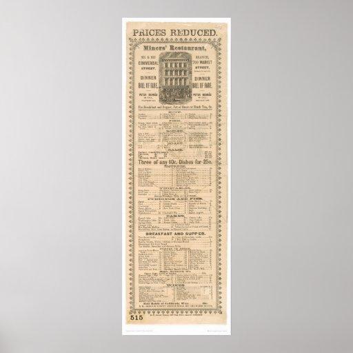 Miners' Restaurant Menu (1083A) Print