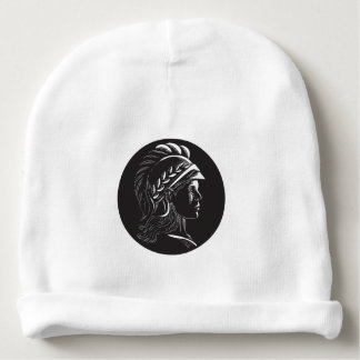 Minerva Head Side Profile Oval Woodcut Baby Beanie