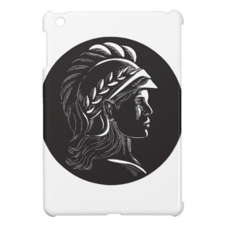 Minerva Head Side Profile Oval Woodcut iPad Mini Covers