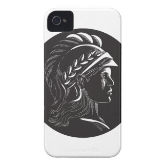 Minerva Head Side Profile Oval Woodcut iPhone 4 Covers