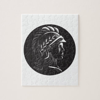 Minerva Head Side Profile Oval Woodcut Jigsaw Puzzle