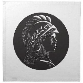 Minerva Head Side Profile Oval Woodcut Napkin