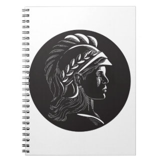 Minerva Head Side Profile Oval Woodcut Notebooks