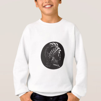 Minerva Head Side Profile Oval Woodcut Sweatshirt
