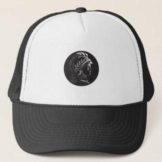 Minerva Head Side Profile Oval Woodcut Trucker Hat