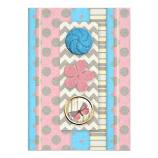 "mini05 CUTE BUTTONS BUTTERFLY SCRAPBOOKING DECORAT 5"" X 7"" Invitation Card"