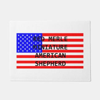 mini am shep name on flag red merle doormat
