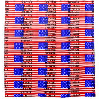 mini am shep name on flag red merle shower curtain