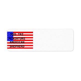 mini am shep name on flag red tri return address label