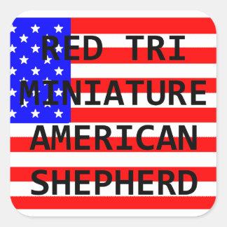mini am shep name on flag red tri square sticker