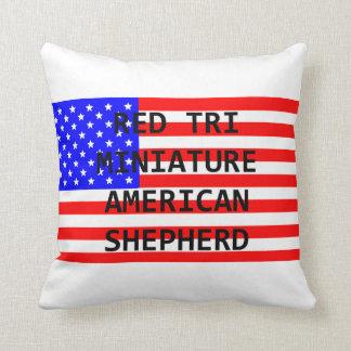 mini am shep name on flag red tri throw pillow