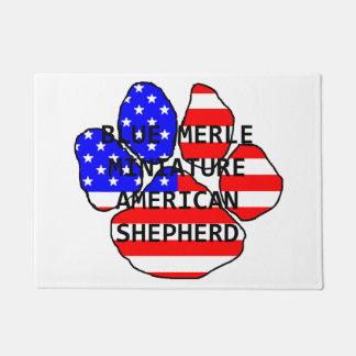 mini am shep paw name flag blue merle doormat
