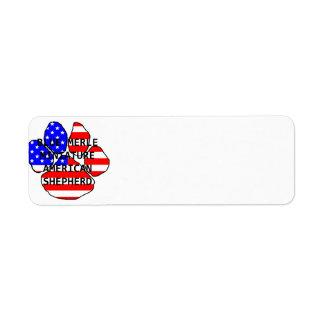 mini am shep paw name flag blue merle return address label