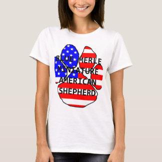 mini am shep paw name flag blue merle T-Shirt