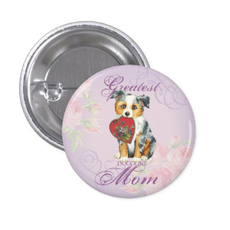 Mini American Shepherd Heart Mom 3 Cm Round Badge