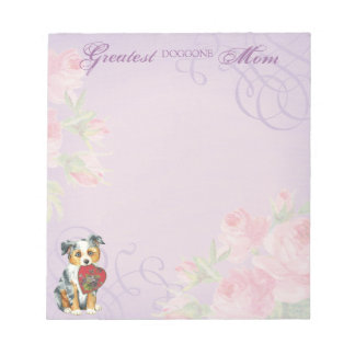 Mini American Shepherd Heart Mom Notepad