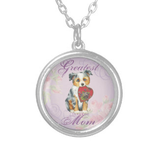Mini American Shepherd Heart Mom Silver Plated Necklace