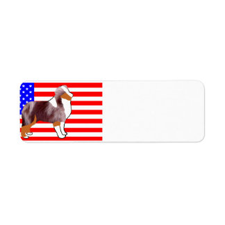 mini aus silhouette on flag red merle return address label