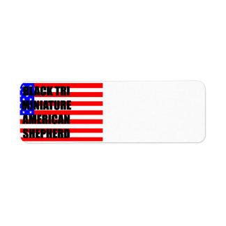 mini aussie name flag black tri return address label