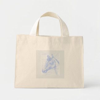 Mini bag drawing of blue and white horse
