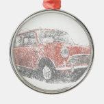 Mini (Biro) Silver-Colored Round Decoration