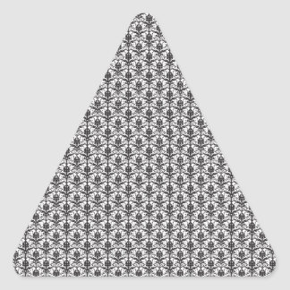 Mini Black and White Damask Pattern Triangle Stickers