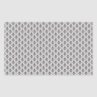Mini Black and White Damask Pattern Rectangle Stickers
