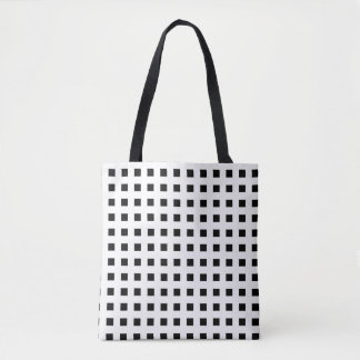 Mini Black Squares White Tote Bag
