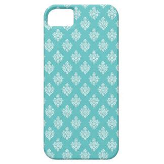 Mini blue damask vintage wallpaper pattern iPhone 5 case