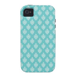 Mini blue damask vintage wallpaper pattern Case-Mate iPhone 4 cover