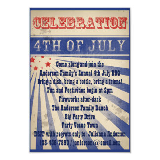Mini Broadside Poster Style 4th July Invitations