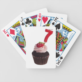 Mini cupcake with number seven candle bicycle playing cards
