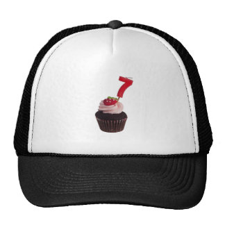 Mini cupcake with number seven candle cap