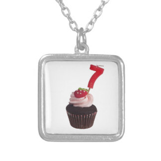 Mini cupcake with number seven candle silver plated necklace