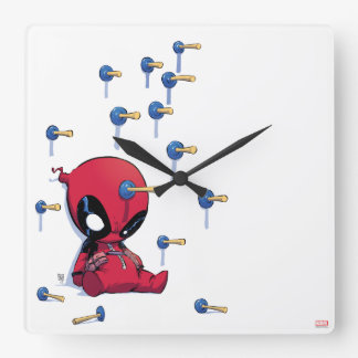 Mini Deadpool Suction Cup Darts Square Wall Clock