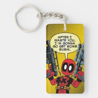 Mini Deadpool With Guns Double-Sided Rectangular Acrylic Key Ring