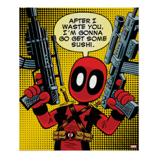 Mini Deadpool With Guns Poster