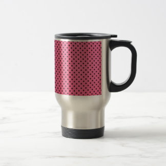 mini dots on pink stainless steel travel mug