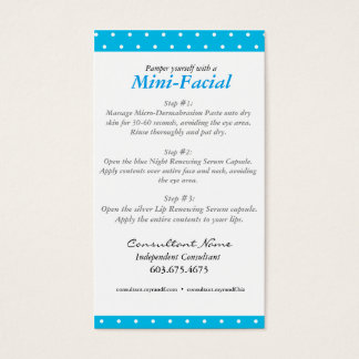 Mini Facial Instruction Card